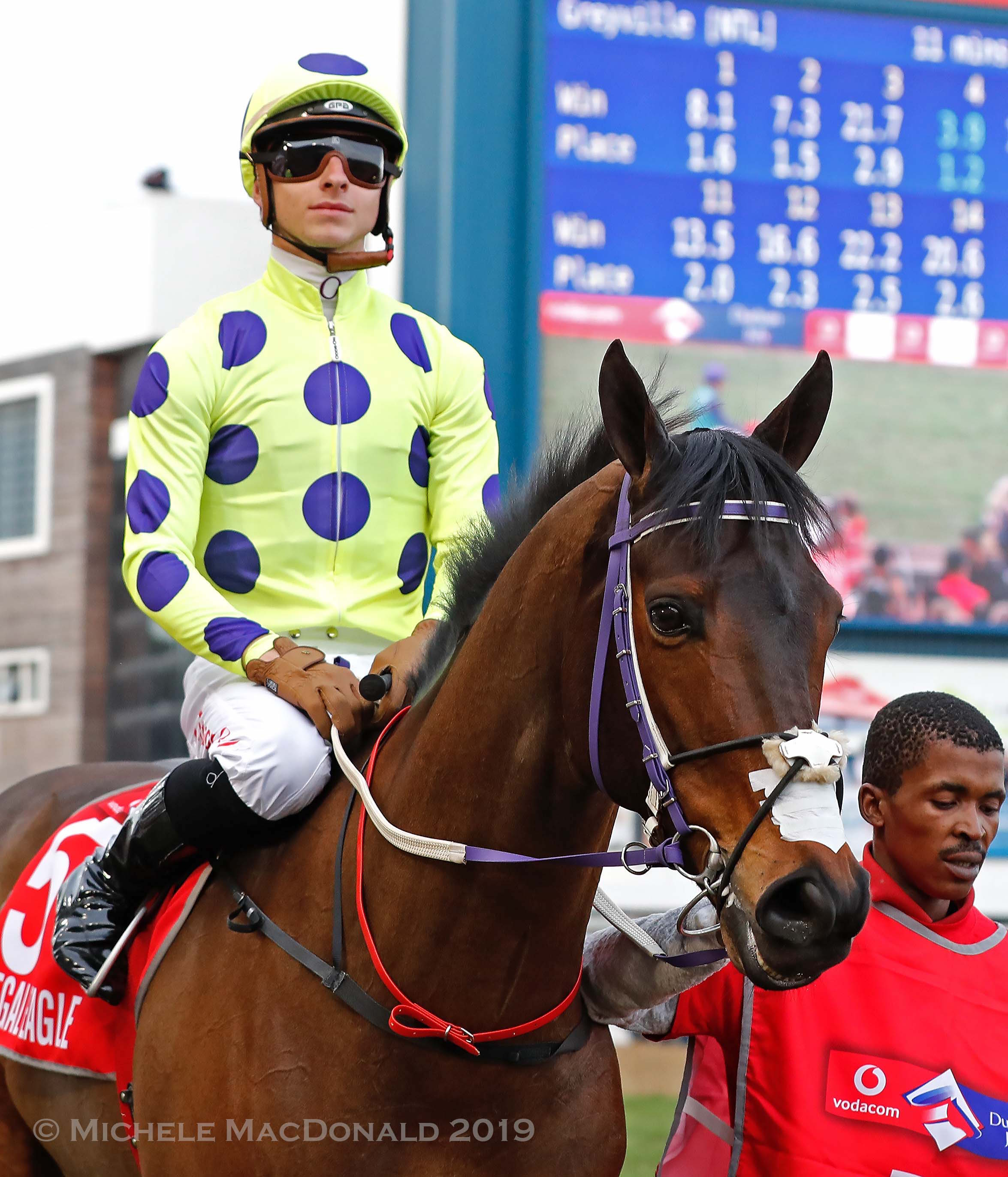 Date with a legend: Lyle Hewitson in the Durban July post parade on the Sean Tarry-trained Legal Eagle, two-time South African Horse of the Year and eight-time G1 winner. Photo: Michele MacDonald