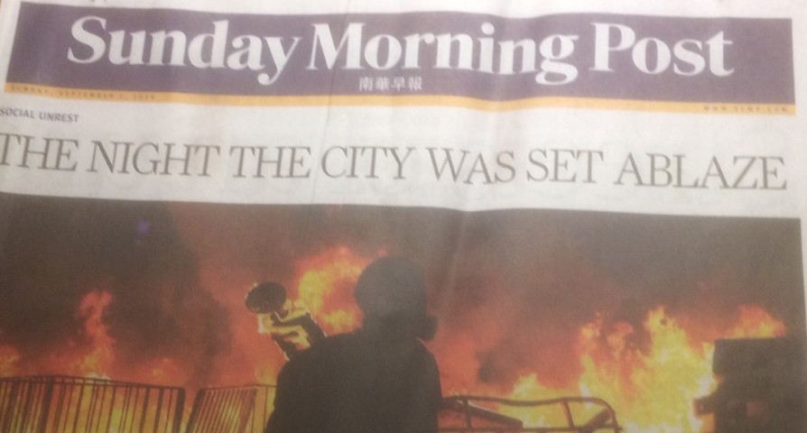 How Hong Kong's Sunday Morning Post reported the events of Saturday night