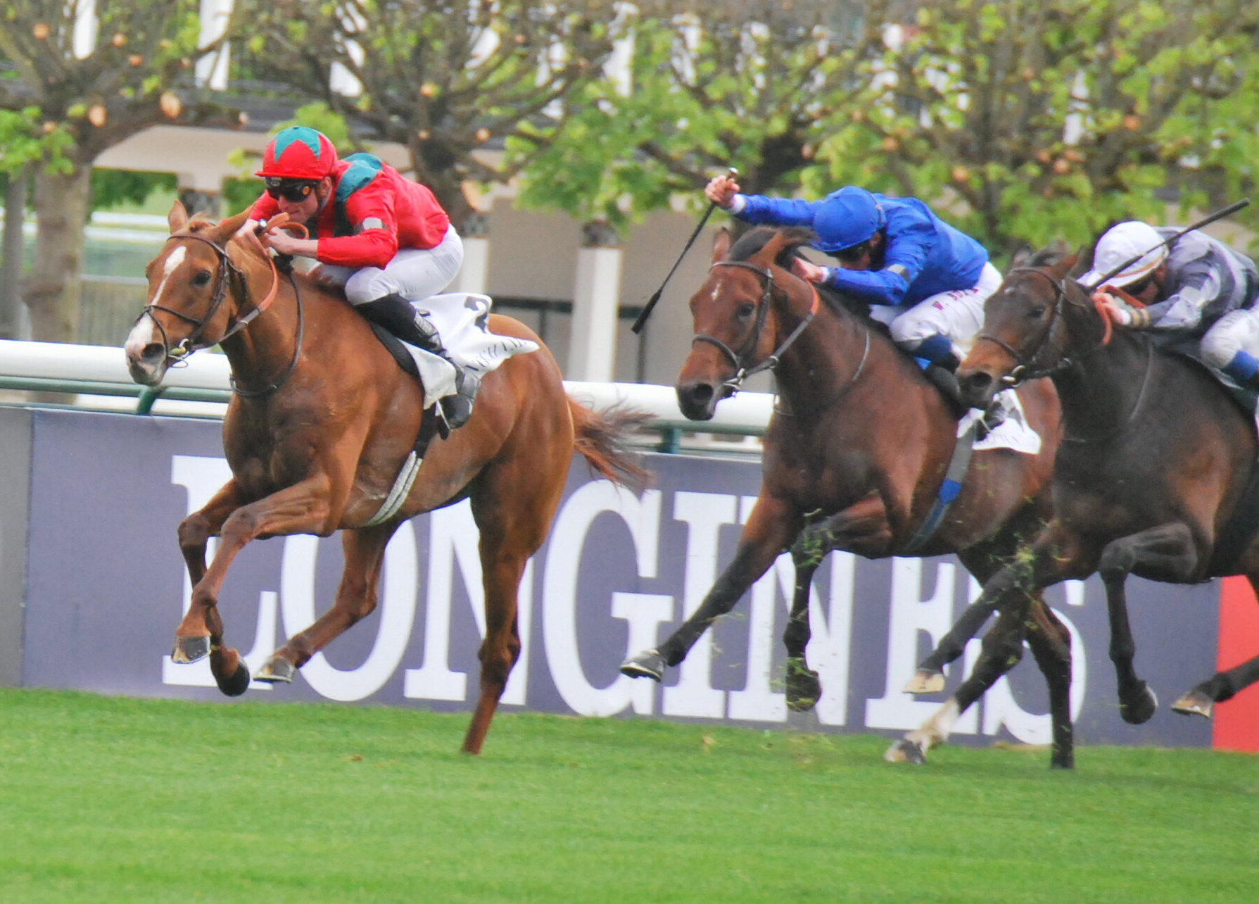 Waldgeist is too good for eventual third and likely Prix Foy rival Ghaiyyath (blue) in the G1 Prix Ganay in April. Study Of Man (right) finished second. Photo: John Gilmore