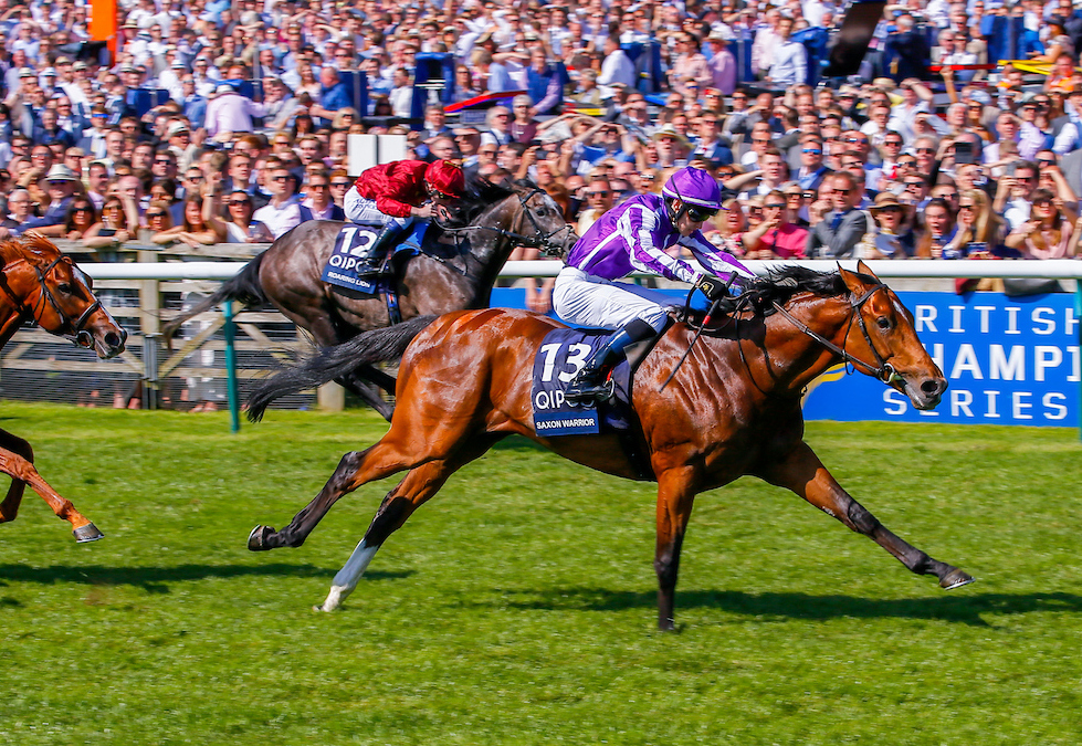 Saxon Warrior, pictured winning the 2000 Guineas at Newmarket in 2018, is sure to be a big attraction at Coolmore Stud. Photo: Mark Cranham/focusonracing.com