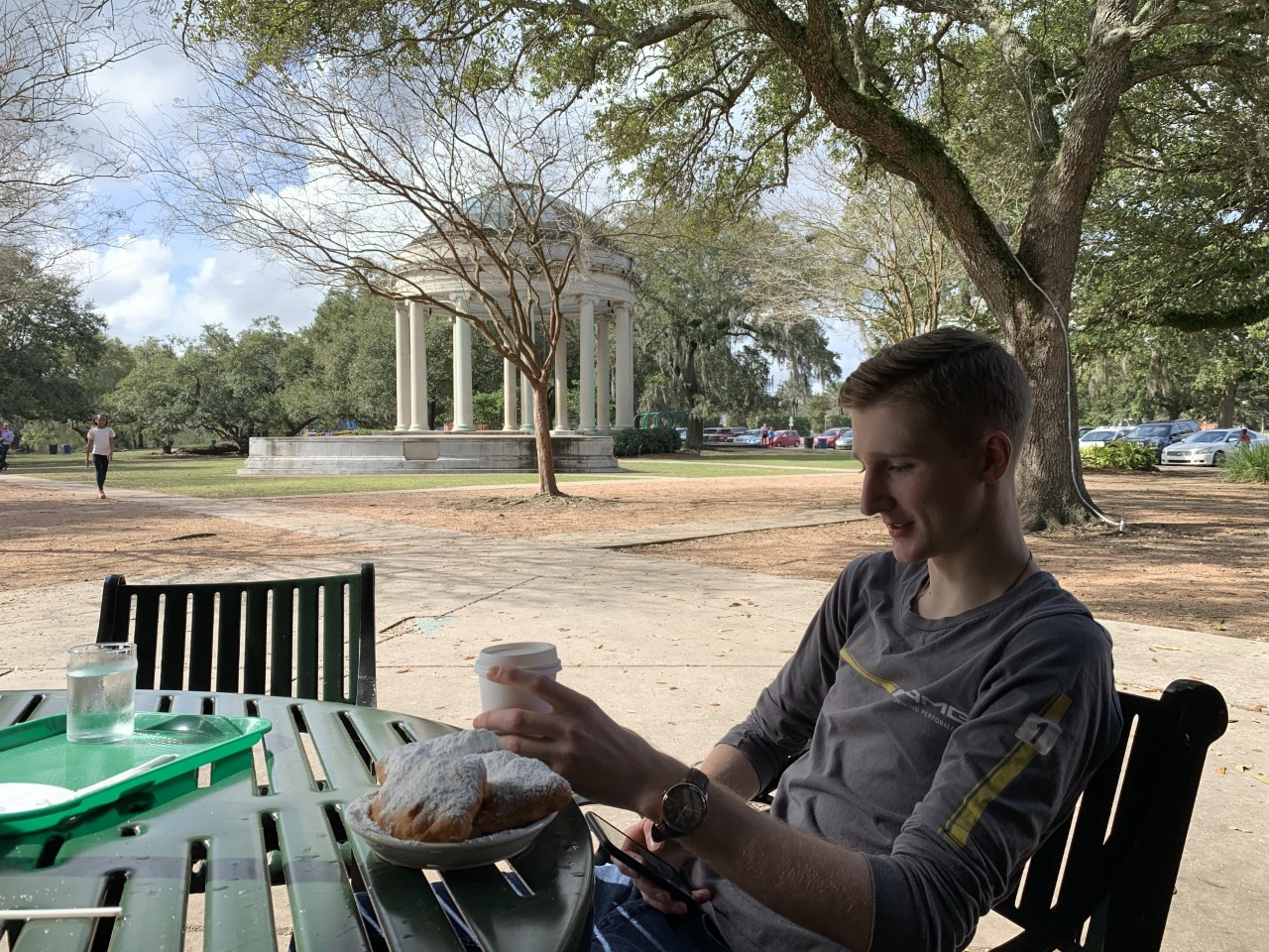 Relaxing in City Park in New Orleans: Jack Gilligan enjoys a little time away from the racetrack