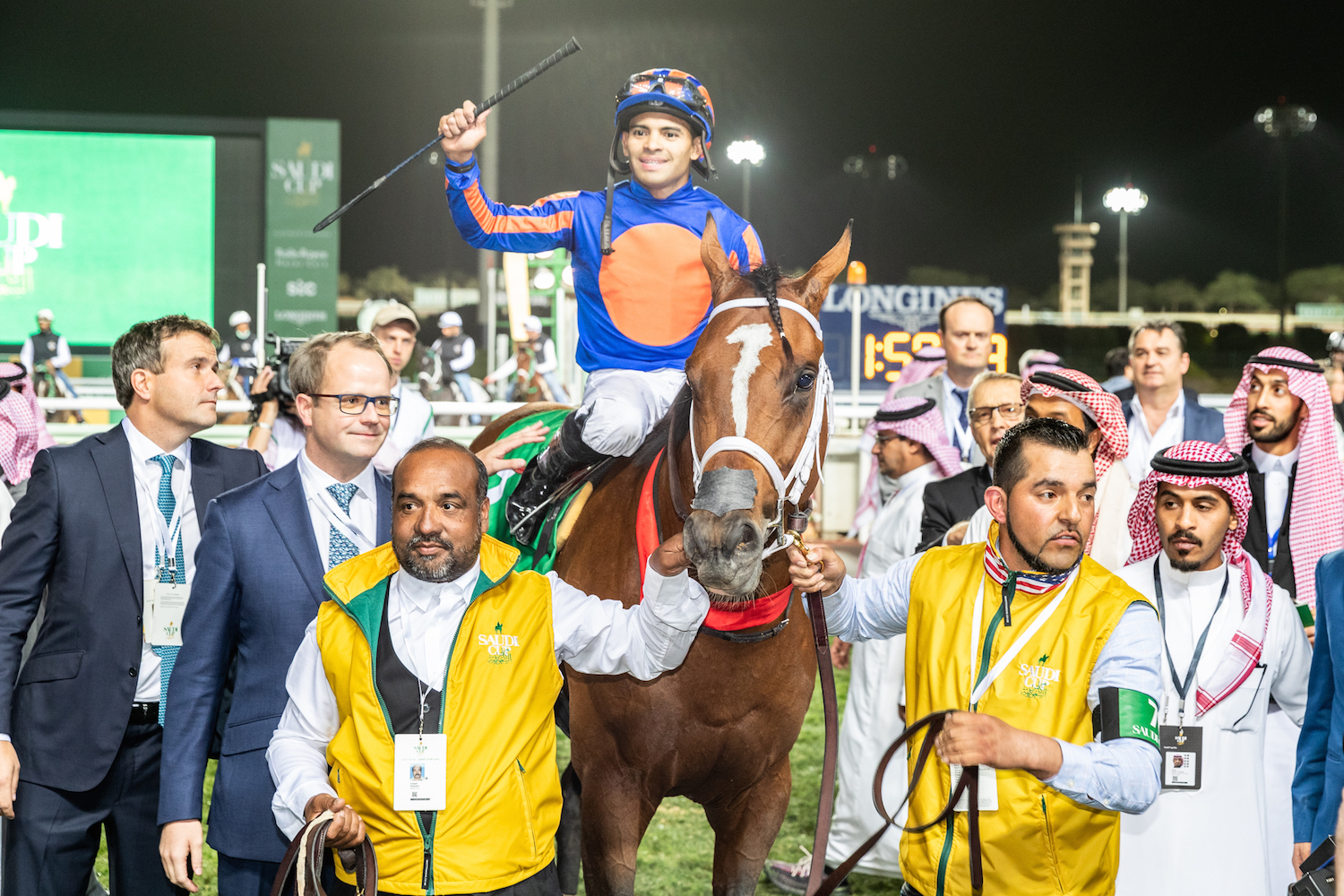 Heroes return: Maximum Security and Luis Saez acknowledge the cheers after winning the Sauid Cup. Photo: Jockey Club of Saudi Arabia