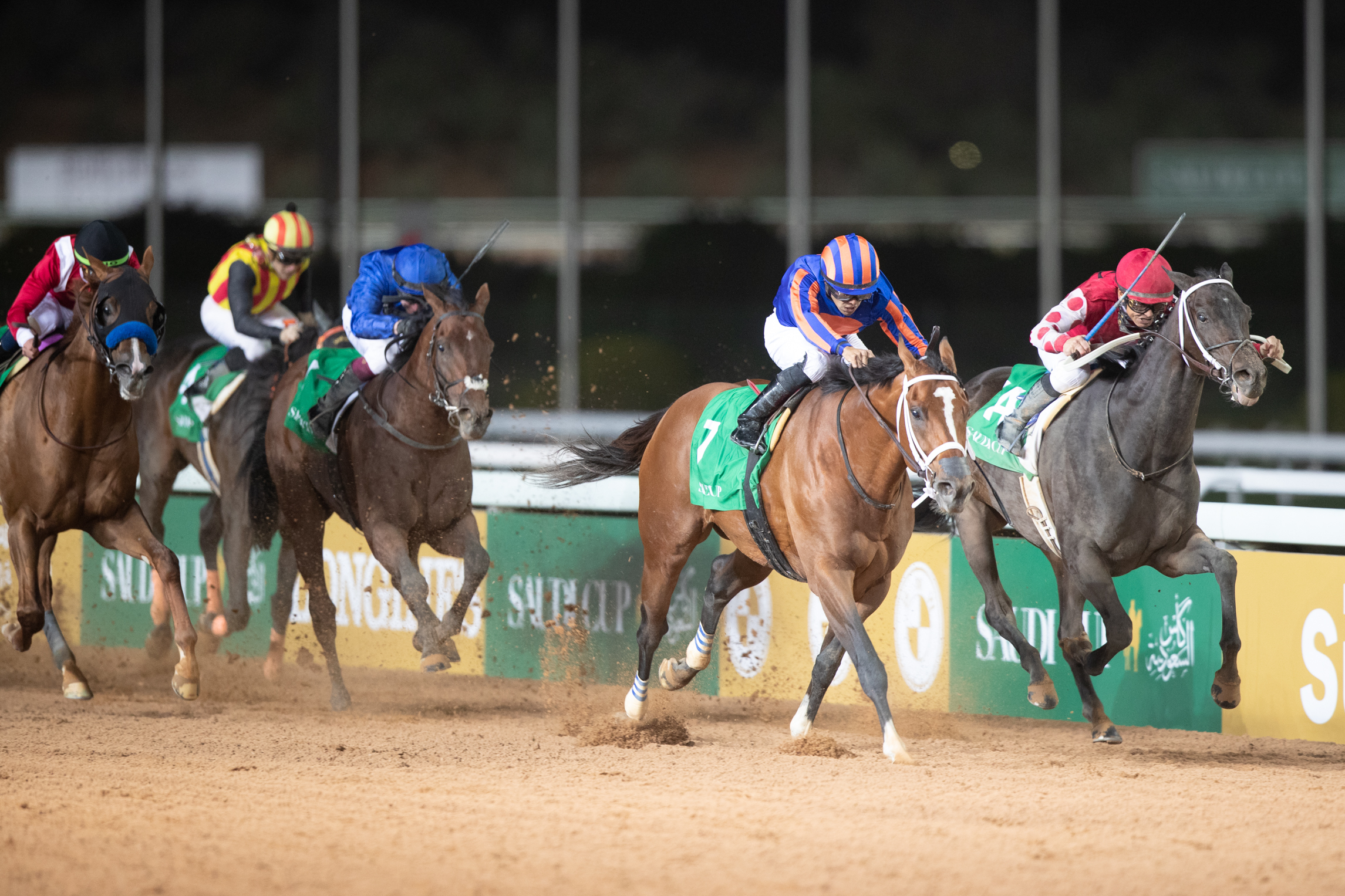 Maximum Security (second right) wins from Midnight Bisou, with Benbatl (blue) third ahead of Mucho Gusto (left) fourth and Gold Dream, who finished sixth. Photo: Jockey Club of Saudi Arabia
