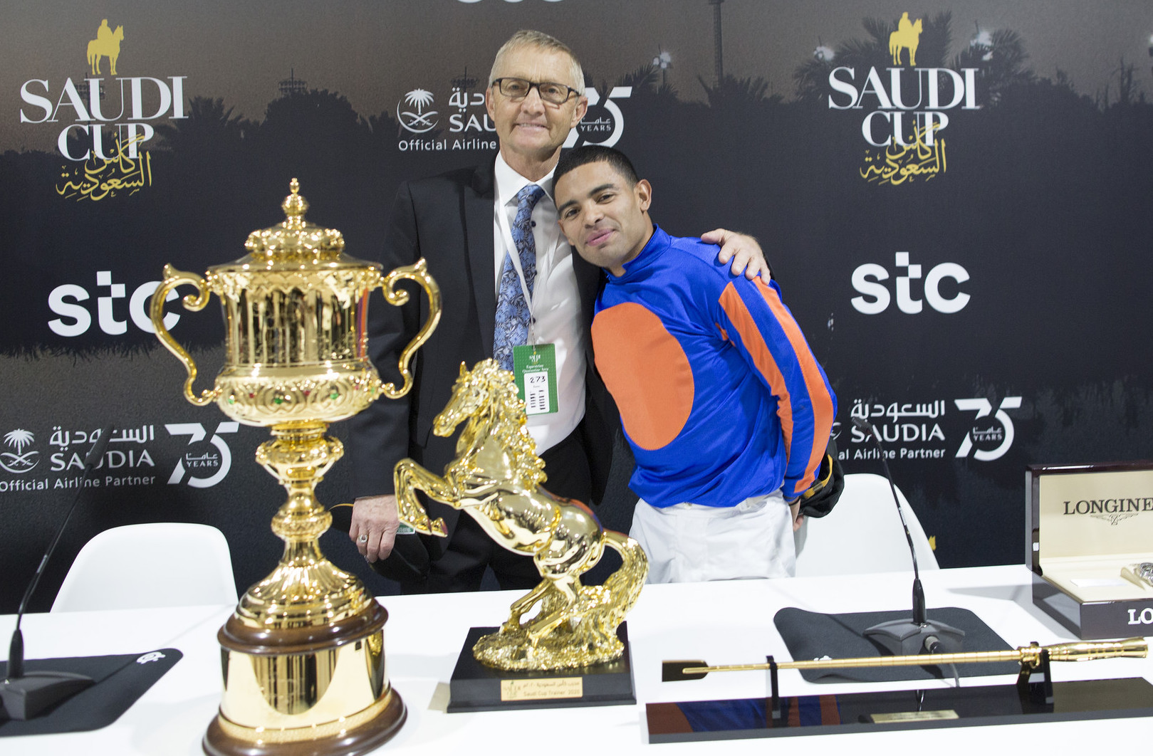 Golden moment: trainer Jason Servis and jockey Luis Saez after the Saudi Cup presentation. Photo: Jockey Club of Saudi Arabia