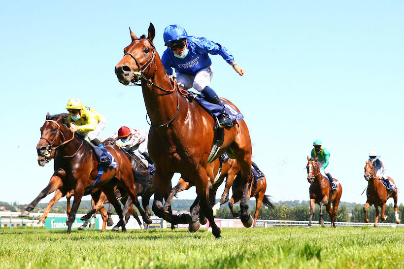 Flying start … to the 2020 Classic campaign: Godolphin's Victor Ludorum winning Monday's G1 Poule d'Essai des Poulains at Deauville for Godolphin (and Lisa-Jane Graffard). Photo: scoopdyga